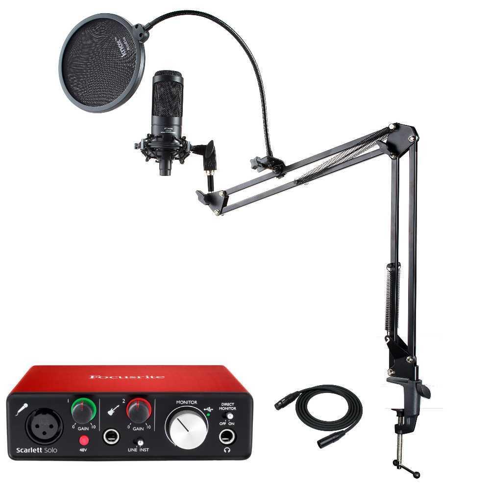 Audio Technica AT2035 Condenser Microphone + Focusrite Scarlett Solo Interface + Accessories Bundle