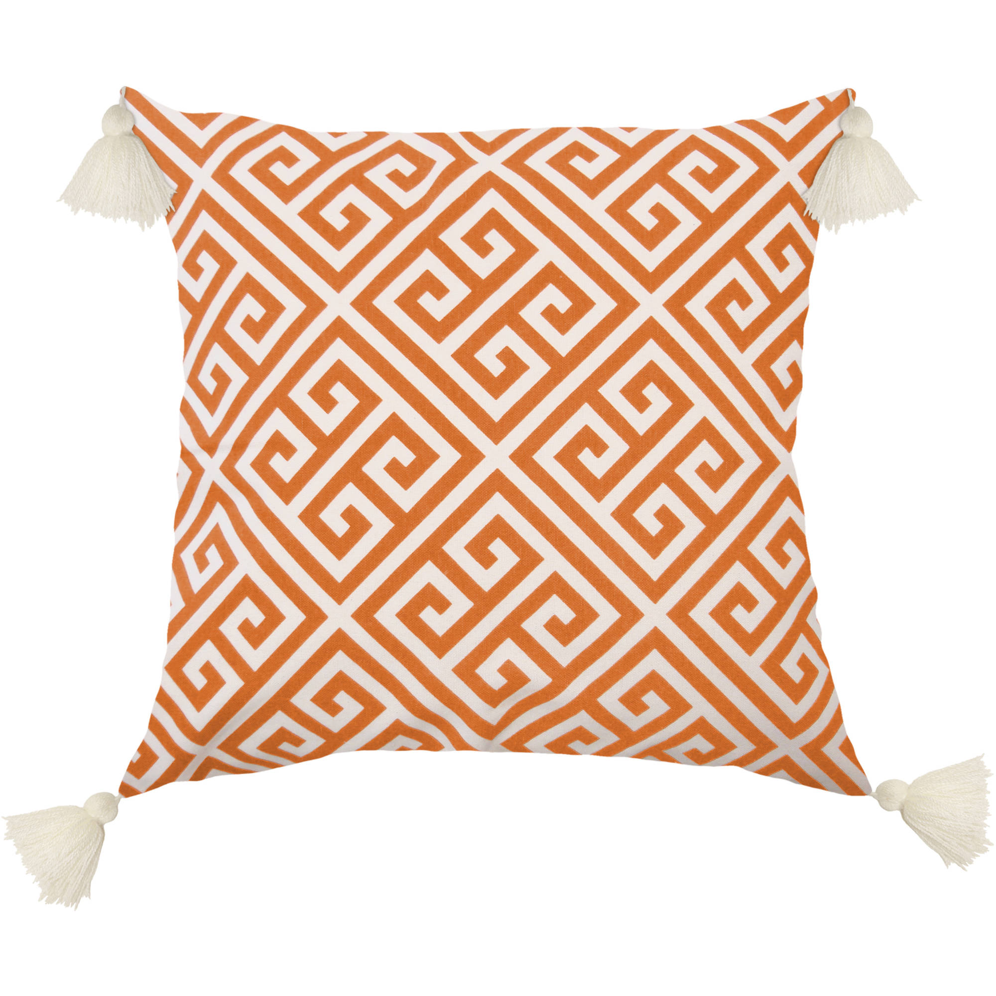 "Better Homes and Gardens Greek Key 18"" x 18"" Poly/Cotton Fabric Contemporary Print Pillow with 4 Decorative Tassels"