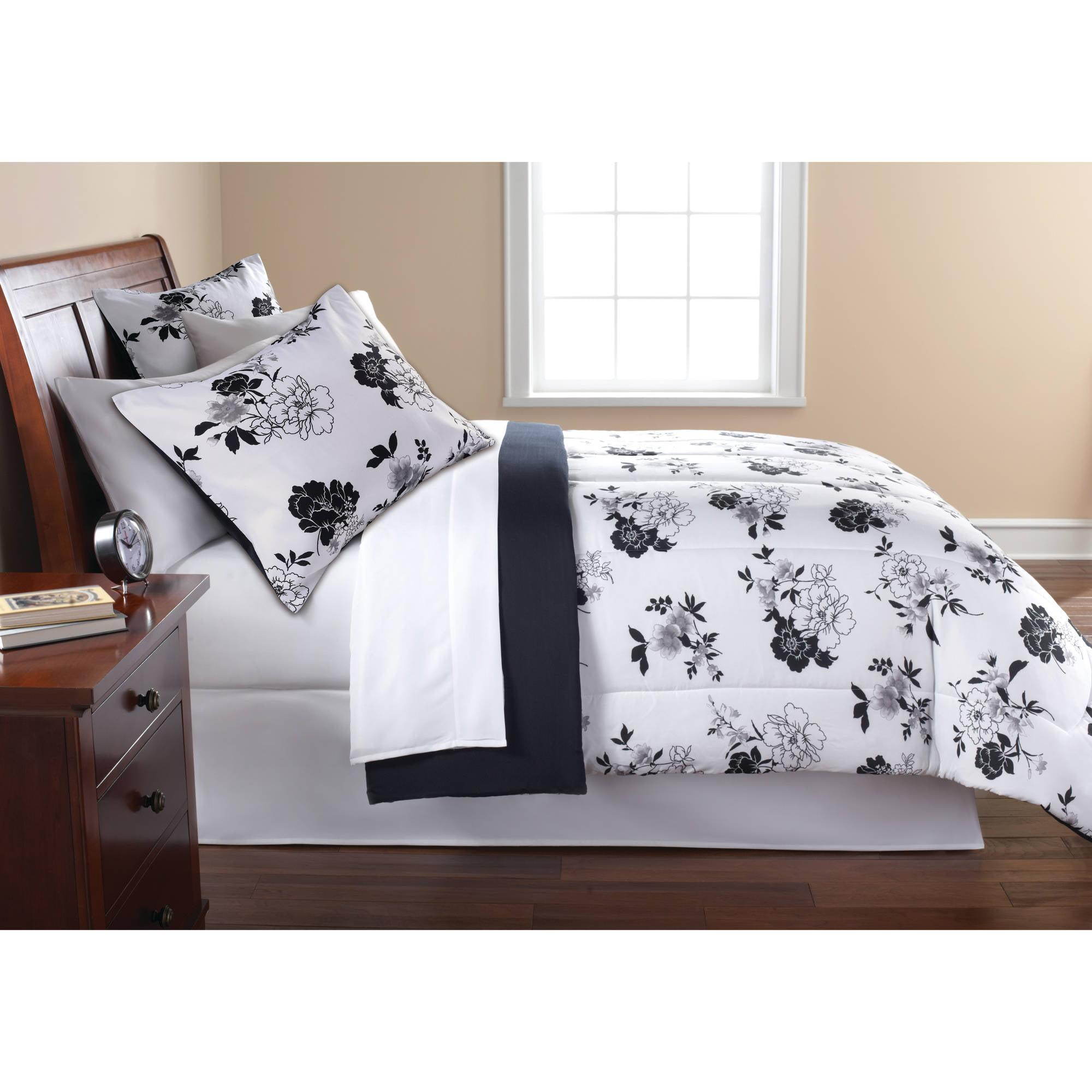 Mainstays Black White Fl Bed In A Bag Complete Bedding Set