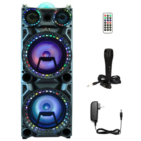 YLT Dual 10 Inch Karaoke Rechargeable Speaker Mic, Bluetooth DJ Projection