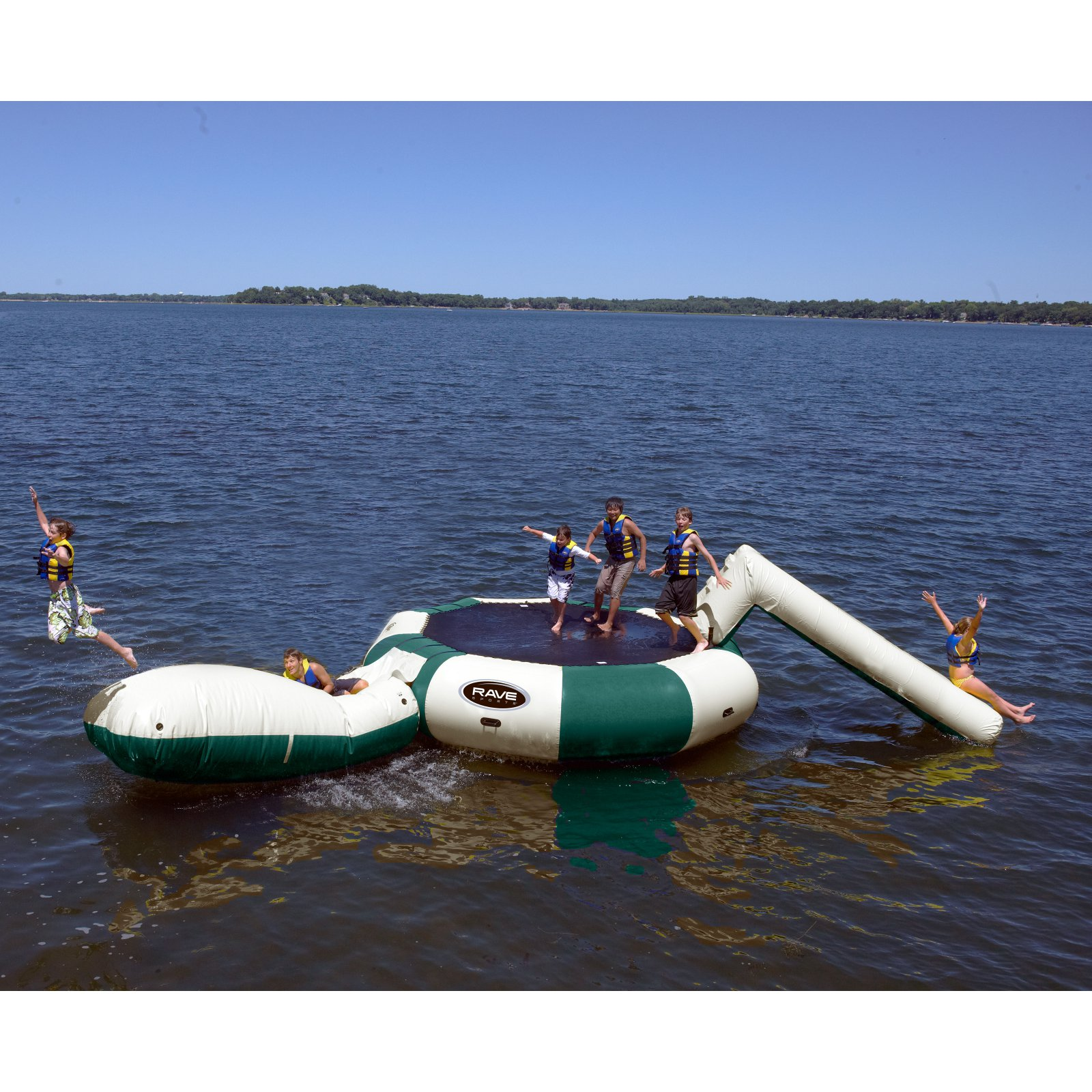 Rave Sports Bongo 20 ft. Northwoods Water Trampoline with Slide and Launch