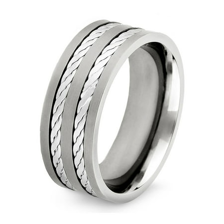 Titanium Double Silver Rope Inlay Flat Edge Ring (Unique Silver Inlay)