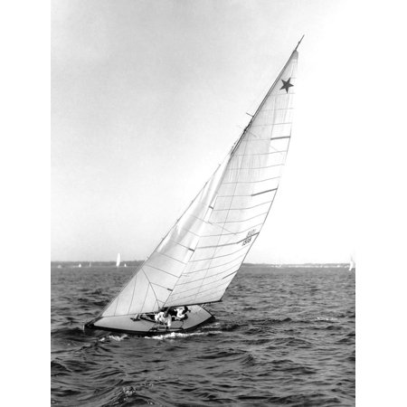 Star Class Boat Sail Number 1518 Heeled to Starboard Print Wall Art By Edwin