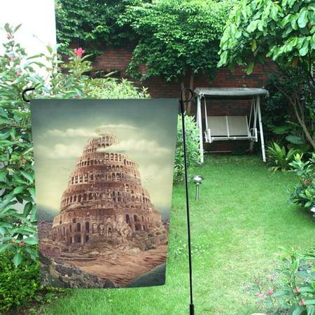 MYPOP Tower Of Babel Garden Flag For Patio, Lawn and Garden 28x40 inches - MYPOP Tower Of Babel Garden Flag For Patio, Lawn And Garden 28x40