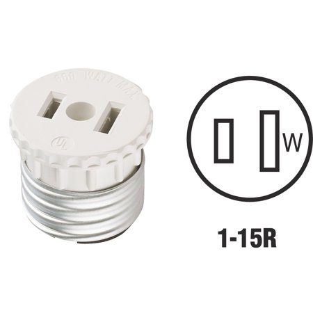 Leviton Electrolier Socket - Leviton 125 15 Amp, 660 Watt, 125 Volt, 2-Pole, 2-Wire, Socket To Outlet Adapter