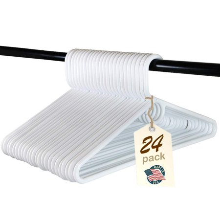 Reef Hanger - Heavy Duty White Plastic Tubular Hangers, Adult Size, Set of 24 Made in The USA (Heavy Duty)