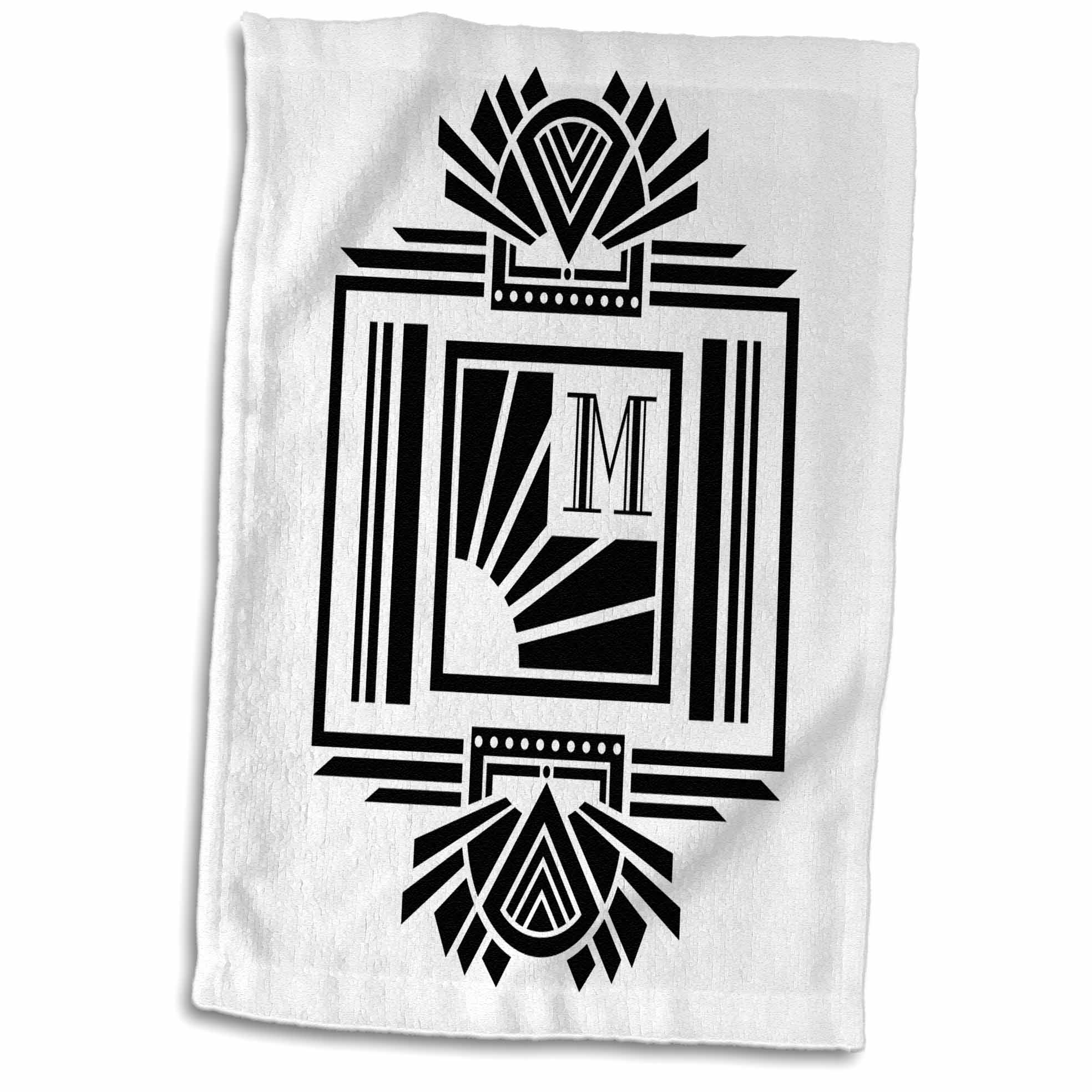 3dRose Monogram Letter M- Black on White Art Deco Initial - Towel, 15 by 22-inch