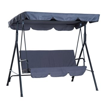 Outsunny 3-Person Porch Lawn Swing with Canopy