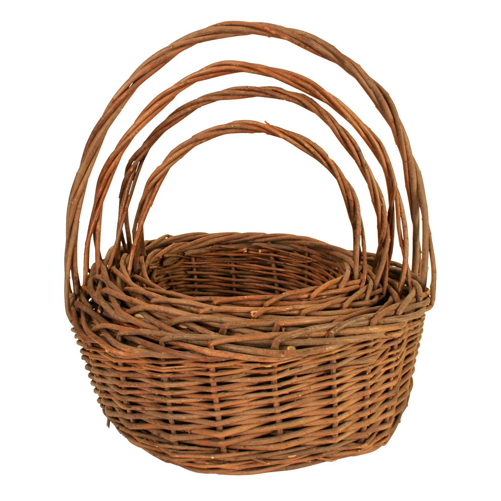 Wald Import Unpeeled Willow Basket - Set of 4