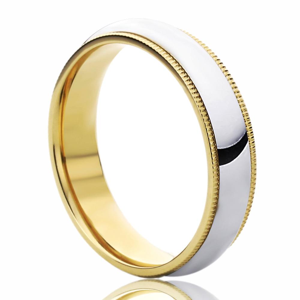Pristine J 14K Yellow Gold & White Gold Wedding Band 5mm Milgrain Edges Domed Classy Comfort Fit Ring