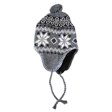 Knitted Peruvian Style Winter Hat With Snowflake Pattern