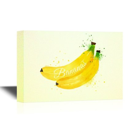 wall26 Fruits Canvas Wall Art - Watercolor Painting Bananas - Gallery Wrap Modern Home Decor | Ready to Hang - 32x48 inches (Fruit Painting)