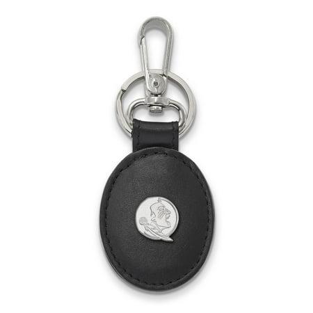University Key (Sterling Silver LogoArt Official Licensed Collegiate Florida State University (FSU) Black Leather Oval Key Chain )