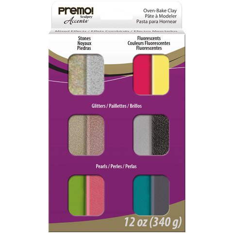 Sculpey Premo! Accents: Mixed Effects Oven-Bake Clay, 12 Assorted Colors, 12 oz
