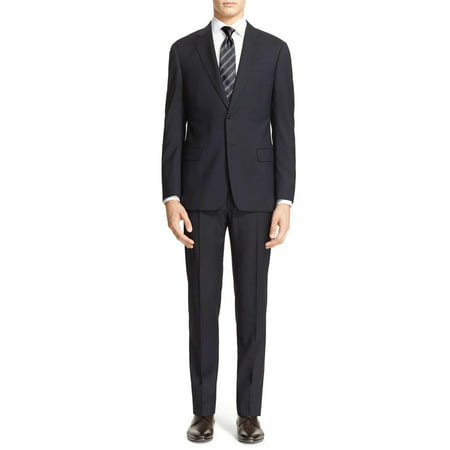 LN LUCIANO NATAZZI Men's Modern Fit Suit Two Button Blazer Pinstripe 2 Piece Black (Pinstripe Striped Suit)