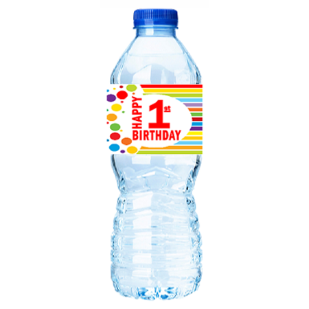 CakeSupplyShop Item#001RWB Happy 1st Birthday Rainbow Water Bottle Labels -15ct