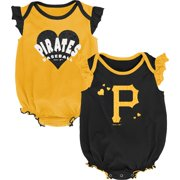 Pittsburgh Pirates Girls Newborn & Infant Double Trouble Two-Pack Bodysuit Set - Black/Gold