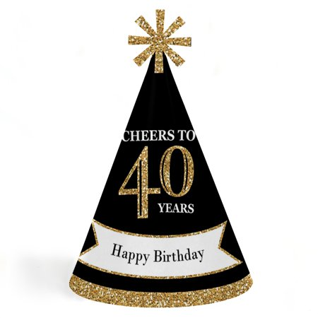 Adult 40th Birthday - Gold - Cone Birthday Party Hats for Kids and Adults - Set of 8 (Standard - Gold Party Hats