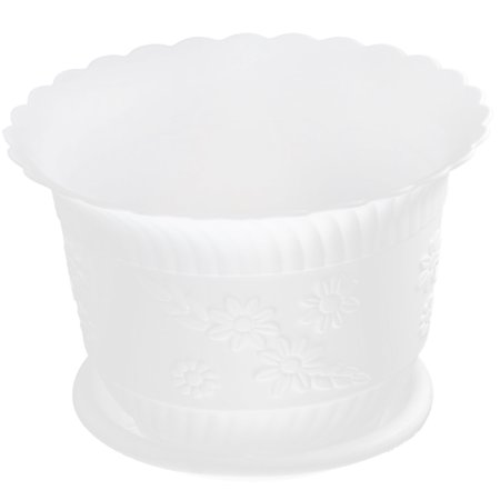 Home Office Garden Plastic Floral Pattern Plant Flower Pot White w Tray (Pattern Pot)
