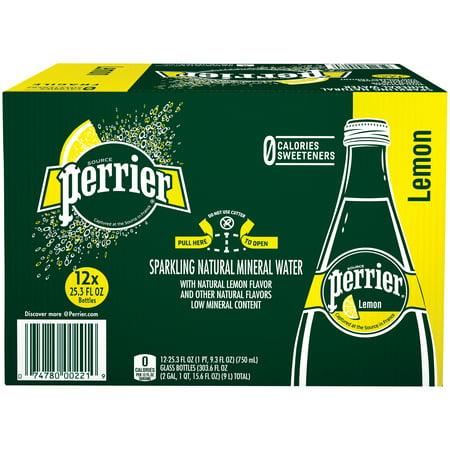 PERRIER Sparkling Natural Mineral Water, Lemon 25.3-ounce glass bottles