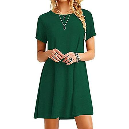 Women Summer Casual T Shirt Dresses A Line Swing Simple Multicolor Mini Dress