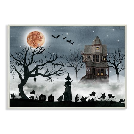 The Stupell Home Decor Collection Halloween Witch Silhouette in Full Moon Haunted House Scene Oversized Wall Plaque Art, 12.5 x 0.5 x 18.5 - Halloween Silhouettes Art Project