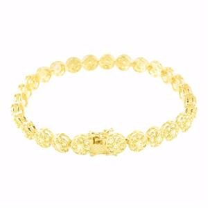 Canary Lab Created Cubic Zirconia Bracelet For Men 14k Gold Finish Icy Brand New 14k Real Gold Mens Bracelet