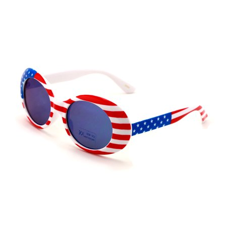 V.W.E. Vintage Sunglasses UV400 Bold Retro Oval Mod Thick Frame Sunglasses Clout Goggles with Mirror Lens USA FLAG ()