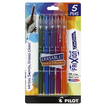 Pilot Ball FriXion  Color Sticks Erasable Fine (0.7 mm) Assorted Gel Ink Pens, 5 pens
