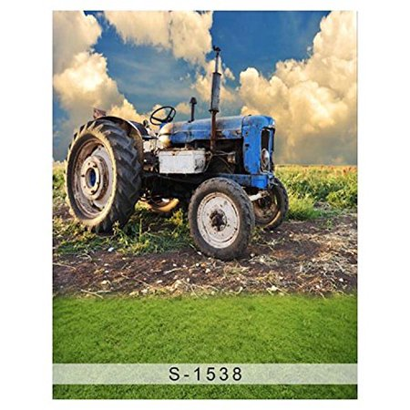 GreenDecor Polyster 5x7ft Farm Blue Tractor Field Sky Photography Studio Backdrop Background](Farm Backdrop)