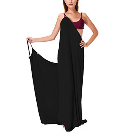 SAYFUT Womens Plus Size Bikini Cover Up Spaghetti Strap Backless Sexy Long Beach Dress Black Plus Size L-5XL (Swim Cover Up Plus Size)