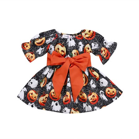 80's Outfits For Halloween (Baby Girls Halloween Pumpkin Costume Outfits One Piece Party Tutu)