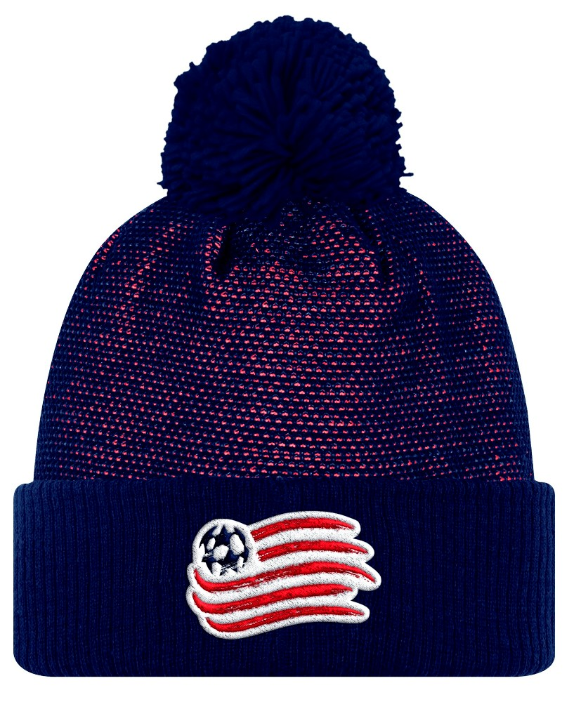 New England Revolution Adidas MLS 2017 Authentic Cuffed Knit Hat with Pom by Adidas