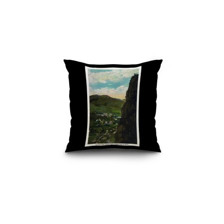 Black And Gold Border (Colorado - Castle Rock View of Golden and Lariat Trail (16x16 Spun Polyester Pillow, Black)