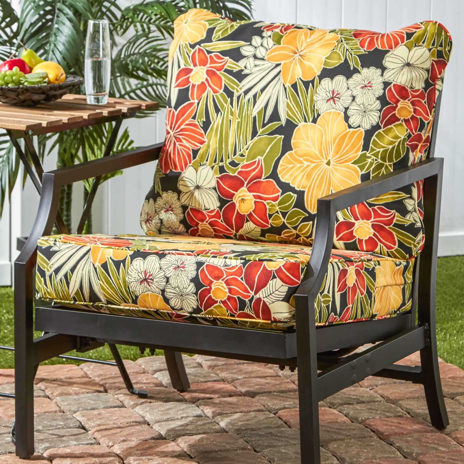 Greendale Home Fashions Outdoor Deep Seat Cushion Set, Aloha Black