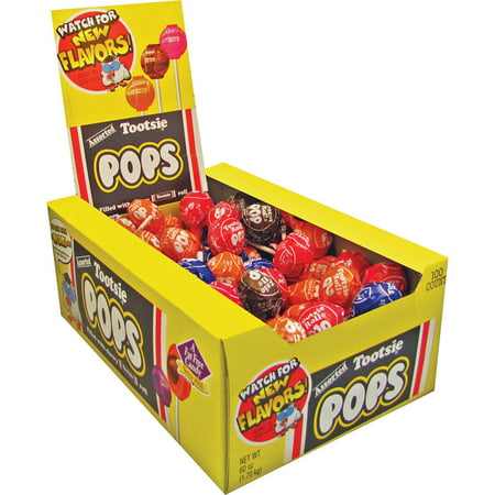 Tootsie, TOO508, Assorted Flavors Candy Center Lollipops, 100 /
