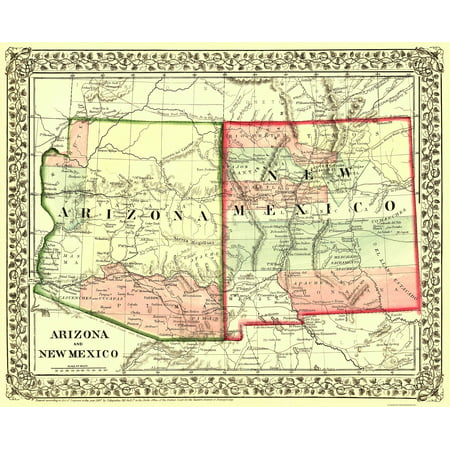 Map Of Arizona And New Mexico.Old State Map Arizona New Mexico Mitchell 1867 23 X 28 29