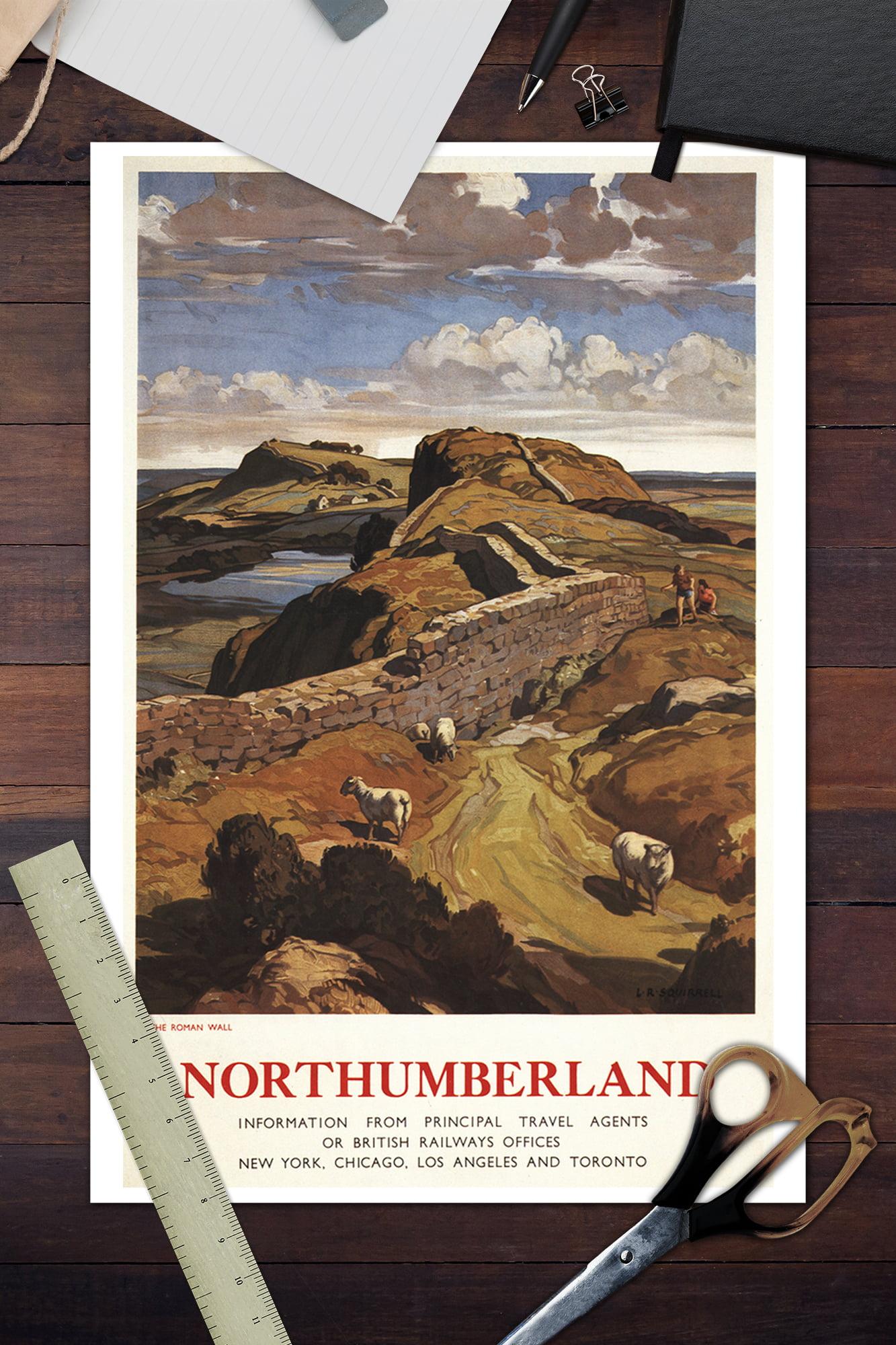 NORTHUMBERLAND HADRIAN/'S WALL VINTAGE RAILWAY TRAVEL POSTER ADVERTISING RETRO