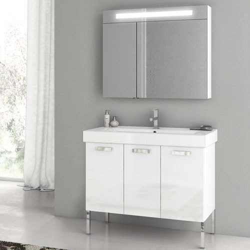 ACF by Nameeks ACF C06-GW Cubical 37-in. Single Bathroom Vanity Set - Glossy White