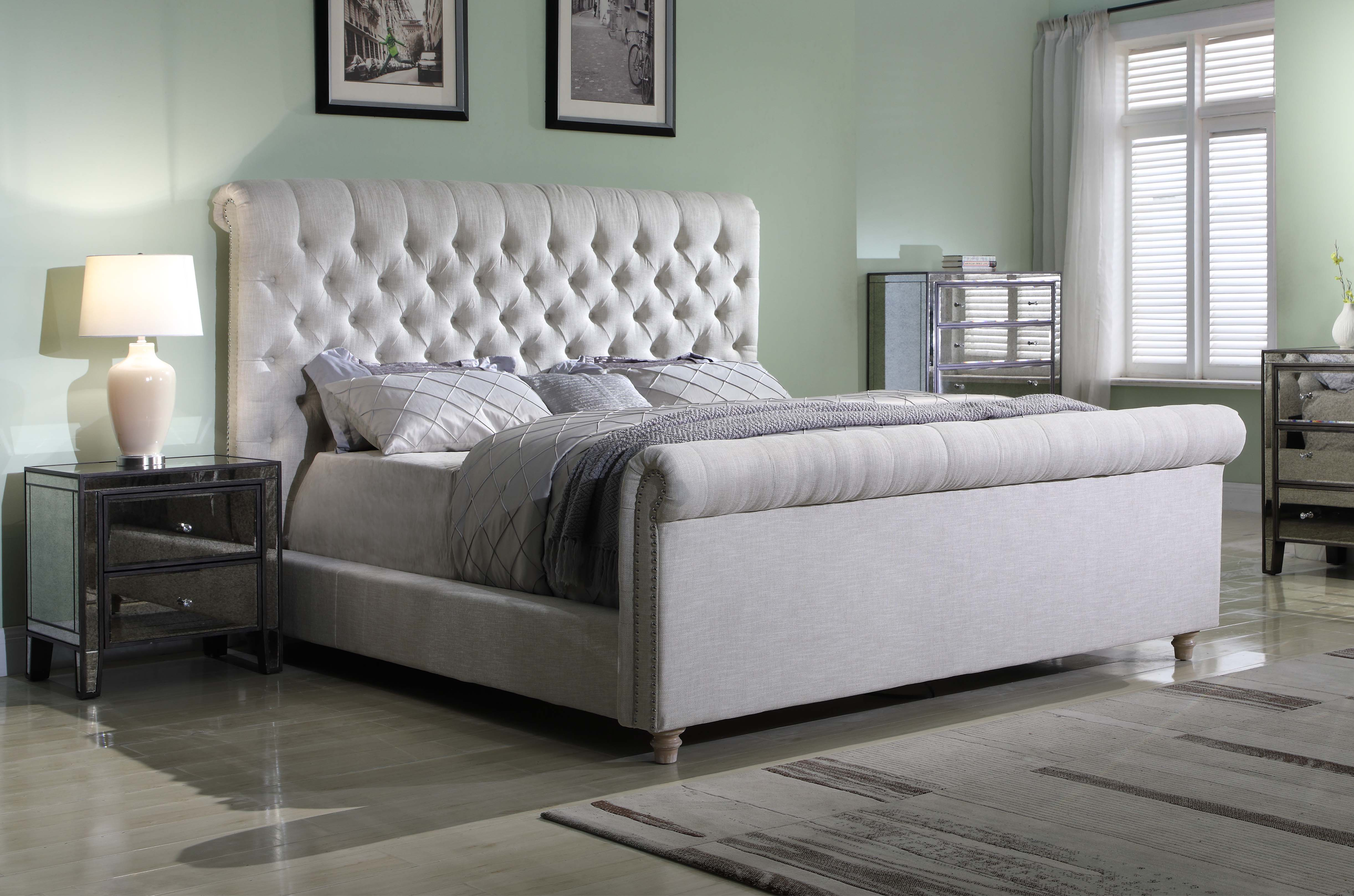 Best Master Furniture Jean Carrie Upholstered Sleigh Bed Eastern King Cream Fabric Walmart Com Walmart Com