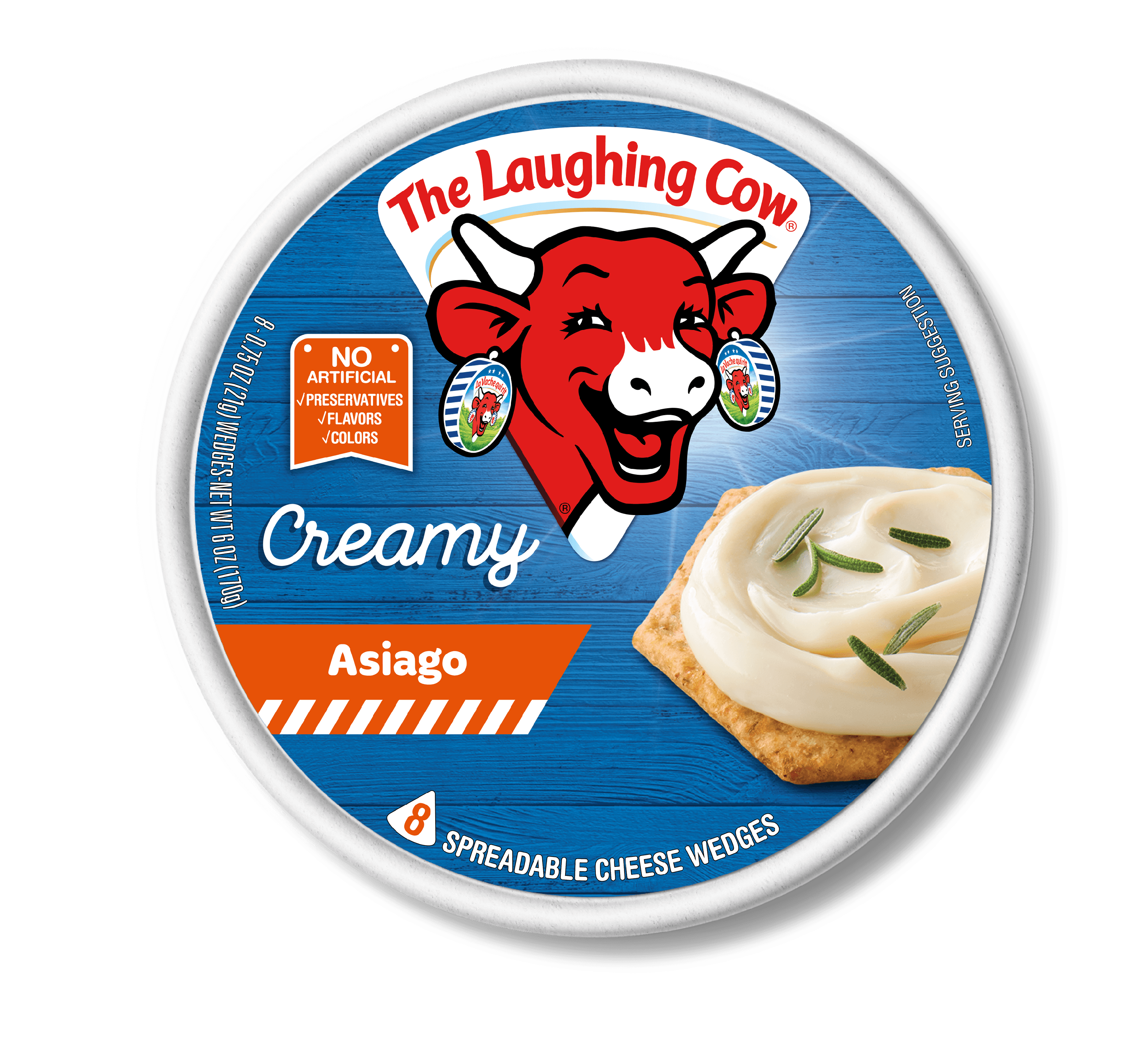 The Laughing Cow Creamy Asiago Spreadable Cheese Wedges, 8 ct, 6 oz