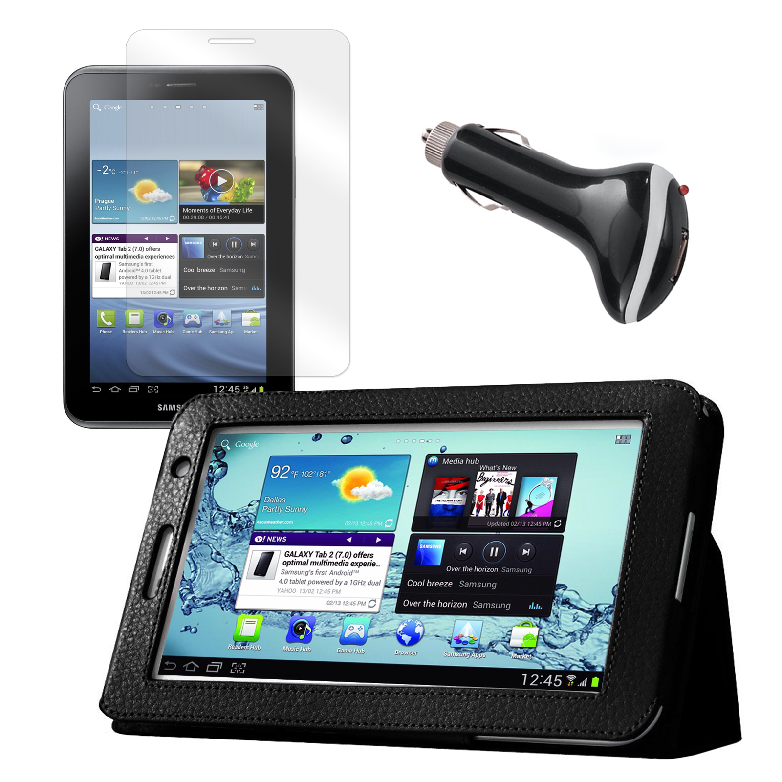 "Black Folio Case with Screen Protector and Car Charger for Samsung Galaxy Tab 2 7"" Tablet"