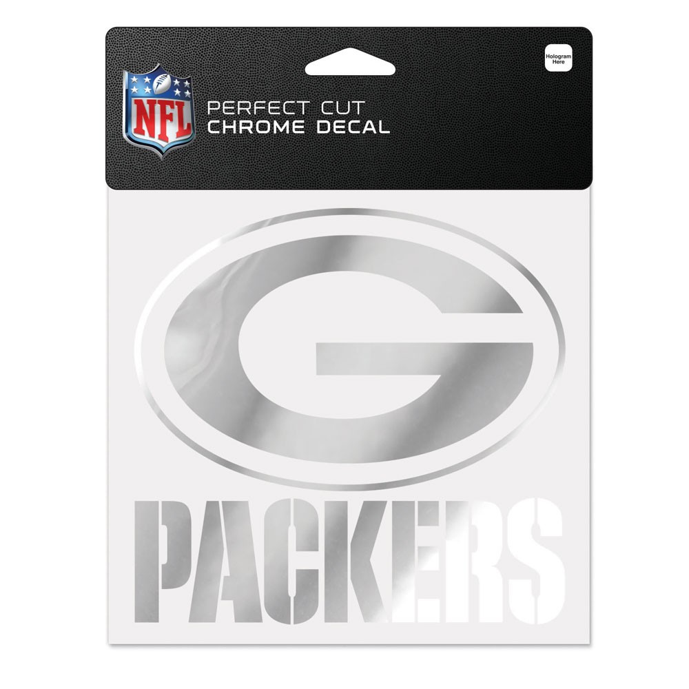 Green Bay Packers Official NFL 6 inch  x 6 inch  Chrome Perfect Cut Decal by Wincraft