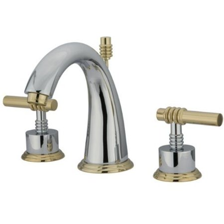Kingston Br Ks2964ml Milano Widespread Lavatory Faucet With Metal Lever Handle Polished Chrome And