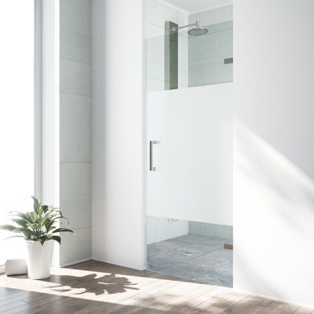 VIGO SoHo 28-inch Adjustable Frameless Shower Door with Privacy Panel Glass and Stainless Steel Hardware ()