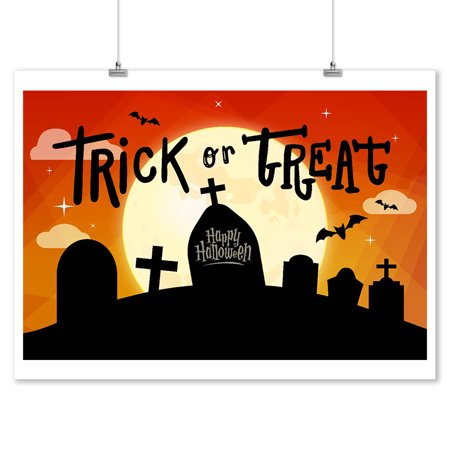 Happy Halloween - Trick or Treat - Graveyard - Lantern Press Artwork (9x12 Art Print, Wall Decor Travel Poster) - Happy Halloween Artwork