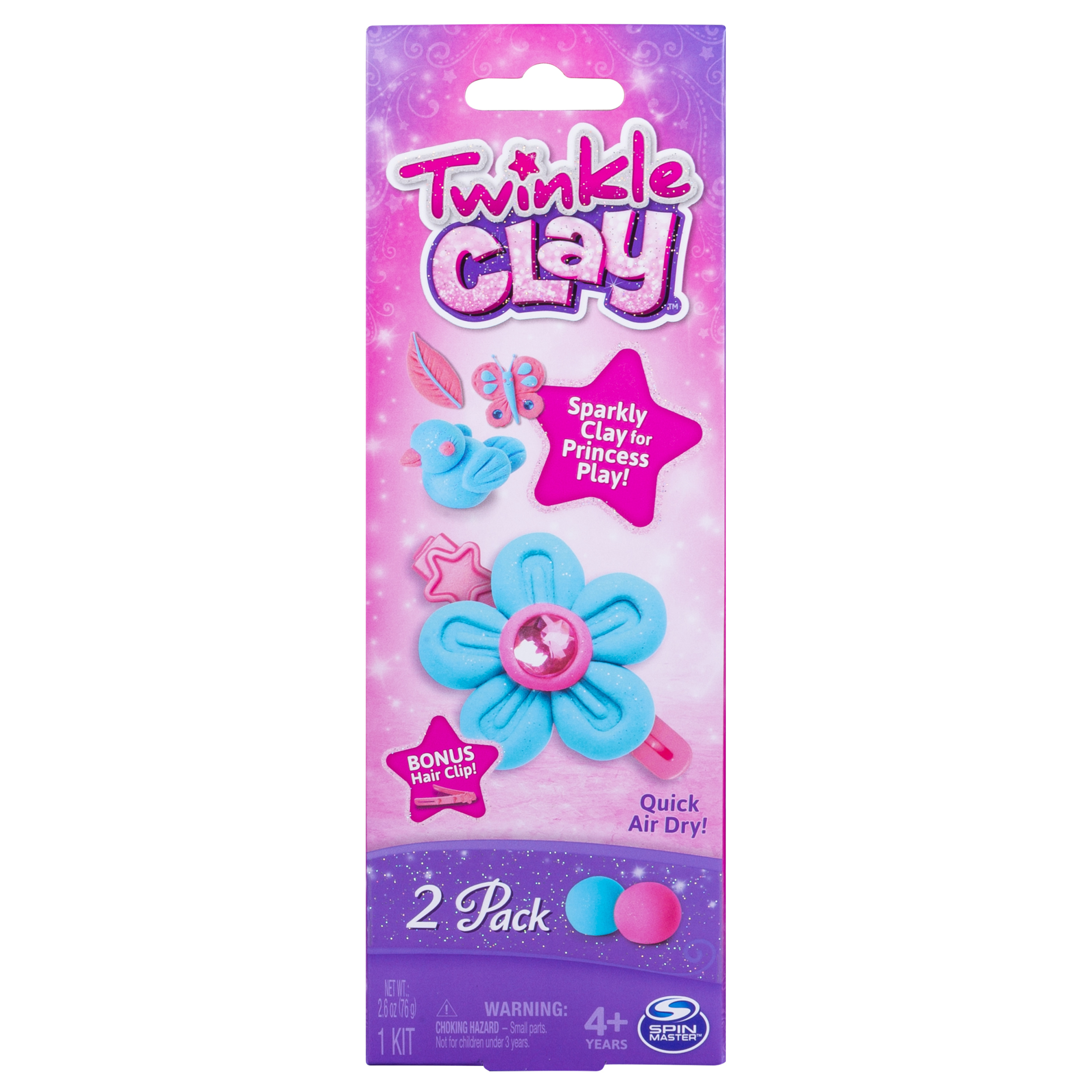 Twinkle Clay – Blue and Pink 2-Pack with Bonus Hair Clip, Makes Sparkly Air-Dry Clay Creations, for Ages 4 and Up