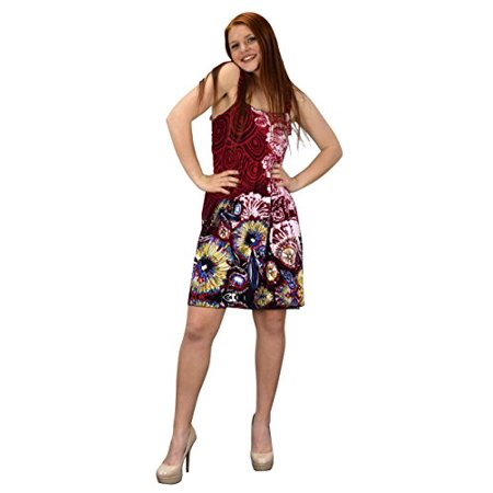 Peach Couture Women's Knee Length Multicolor Exotic Smocked Printed Summer Dress Floral