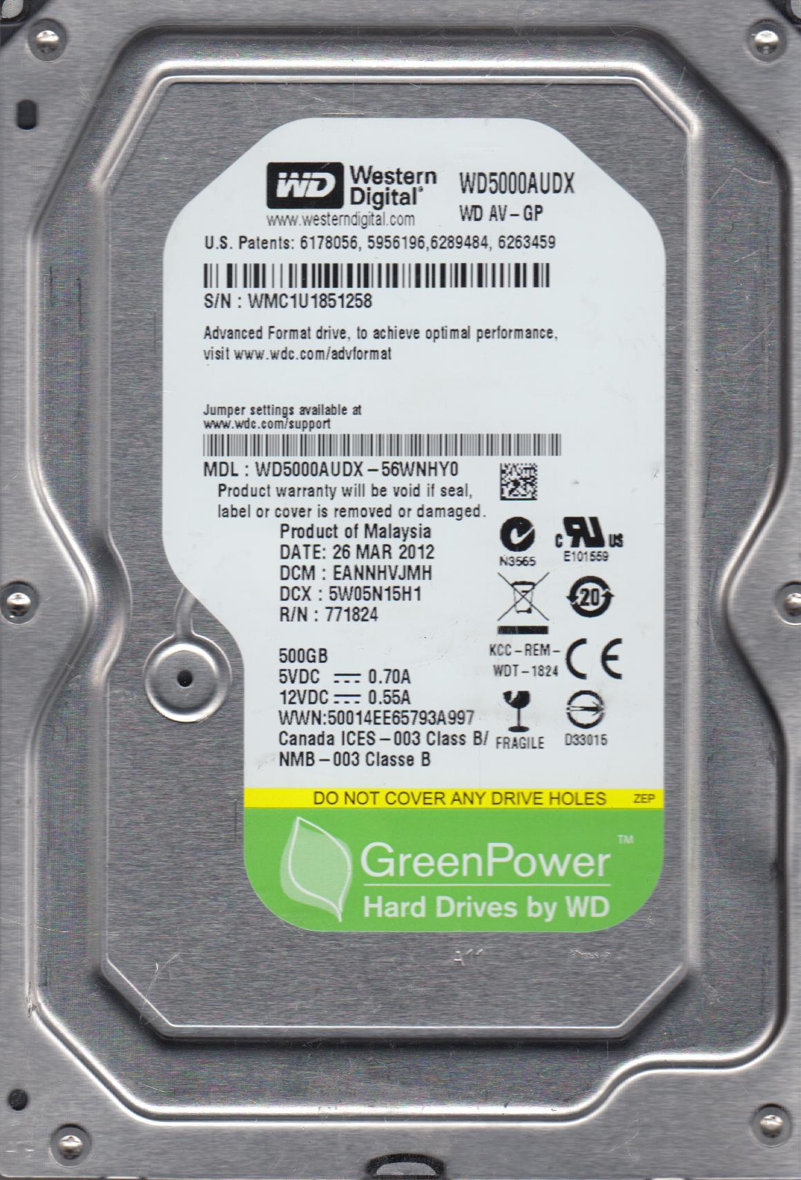 WD5000AUDX-56WNHY0, DCM EANNHVJMH, Western Digital 500GB SATA 3.5 Hard Drive by Western Digital