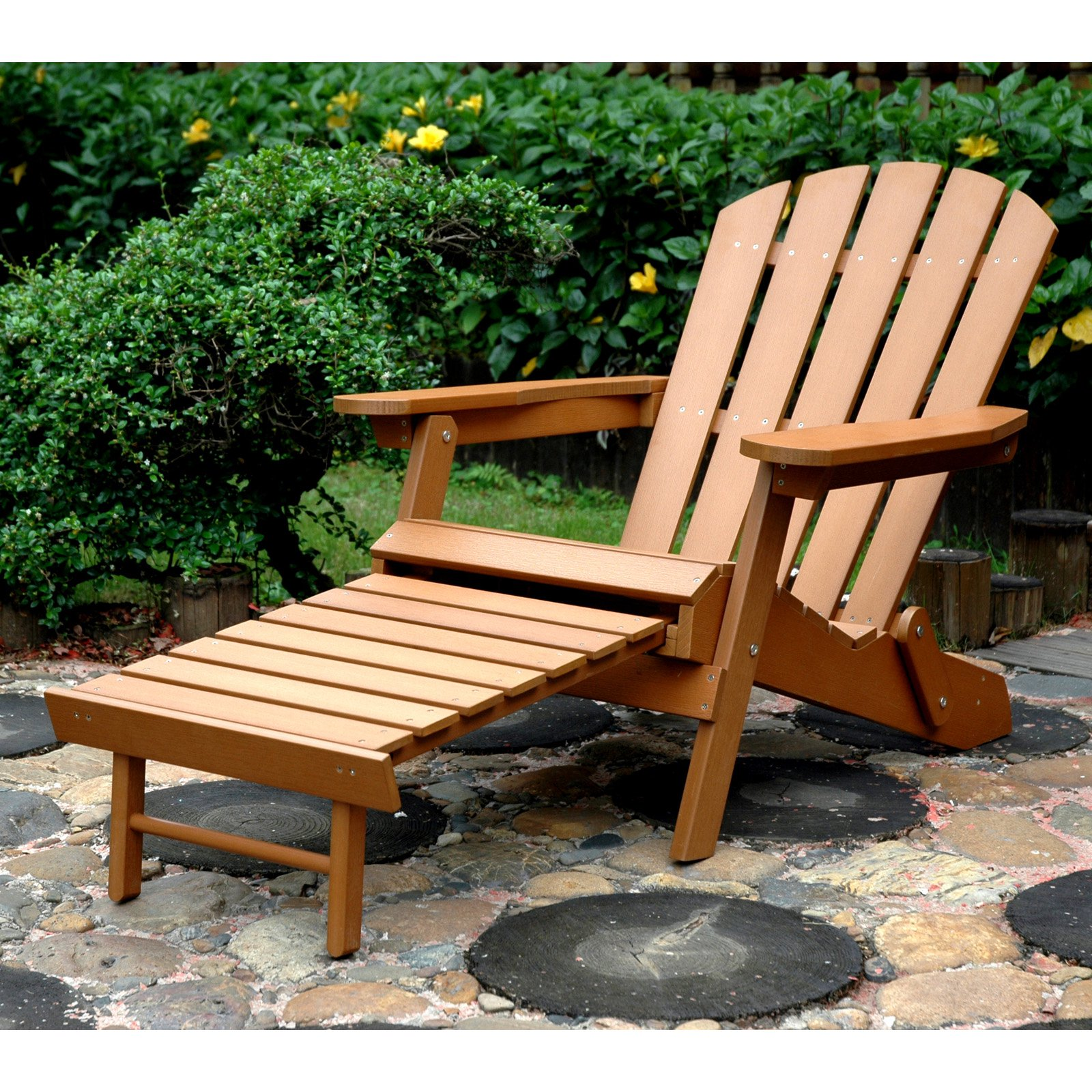 Merry Products Plastic Wood Folding Adirondack Chair With Ottoman